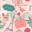 Love in Paris. Seamless pattern - Stok fotoğraf