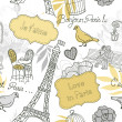 Love in Paris. Seamless pattern — Stok fotoğraf