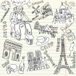 Sightseeing in Paris doodles — Stock fotografie