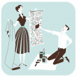 Stock Photo: Choosing the wallpaper - Couple Redecorating
