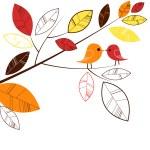 Herbstlaub und zwei Vögel küssen — Stockfoto