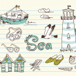 Summer Holidays Doodles! Vector illustration. - Стоковая фотография