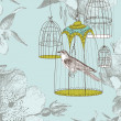 Vintage card with a bird in the cage - Foto Stock