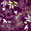 Royalty-Free Stock Photo: Birds and bird cages. Seamless pattern