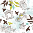 Birds and bird cages. Seamless pattern — Stock Photo