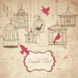 Vintage bird cages. Birds out of their cages concept vector - Stock Photo