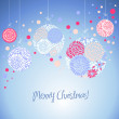 Blue card with christmas balls, vector illustration — Stock Photo