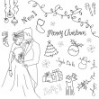 Stock Photo: Cute Christmas and New Year hand drawn doodles