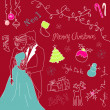 Cute Christmas and New Year hand drawn doodles — Stock Photo