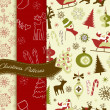 Set of Retro Christmas patterns - Foto de Stock