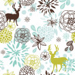 Christmas floral seamless pattern with deers and birds — ストック写真