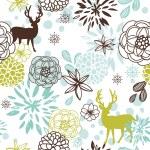 Vánoční květinový vzor bezešvé s jeleny a ptáci — Stock fotografie