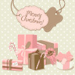 Description:Sweet Christmas card in retro style. A pile of Christmas gifts — Stock Photo