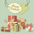 Sweet Christmas card in retro style. A pile of christmas gifts — Stock Photo #7551471