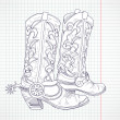 Hand drawn sketch of a cowboy boots - Stock Photo