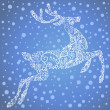 Christmas Card with a cute deer and snowflakes. Vector Illustration — Stock Photo