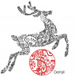 Stock Photo: Hristmas deer vidifferent doodles ornaments and cute snowflakes