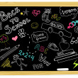Realistic vector-illustration of a vintage blackboard with scribbles — Stock Photo