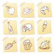 Vector set of food icon on note paper — Stock Photo