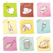Vector set of food icon on note paper - Stockfoto