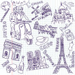 Shopping in Paris doodles — Stock Photo