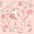 Feminine doodles, Shopping madness — Stock Photo