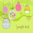 Stock Photo: Hanging easter eggs and flowers