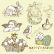 Vintage Easter Set — Stock Photo