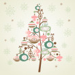 Stock Photo: Cute Christmas Tree and snowflakes