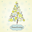 Beautiful Christmas tree illustration. Christmas Card — Stock Photo
