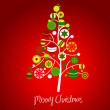 abstract christmas tree with cute and colorful design elements — Stock Photo