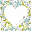 Cute floral background with a Heart Frame — Φωτογραφία Αρχείου