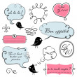 Speech bubbles set in French style - Stok fotoğraf