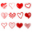 Cute doodles hearts set — 图库照片