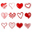Cute doodles hearts set - Stock Photo