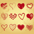 Vector illustration of beautifull hearts icon set — 图库照片