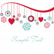Cute background with hearts and snowflakes - Stockfoto
