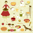 Domestic diva and a set of kitchen equipment and food — Stock Photo