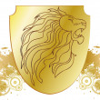 Vector lion head and golden shield - Stock Photo