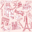 LOVE in Paris doodles - 图库照片