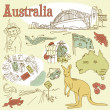 Australia Doodles - Stock Photo
