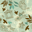 Stock Photo: Birds and bird cages. Seamless pattern