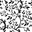 Seamless wallpaper - black leaves - Stok fotoğraf