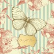 Vintage card with a butterfly — Stock Photo