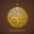 Vintage card with golden Christmas ball — Stock Photo