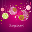 Royalty-Free Stock Photo: Purple card with christmas balls, vector illustration