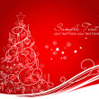 Beautiful Christmas tree on Red background — 图库照片