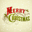 Vintage Christmas Card. Merry Christmas lettering - Stock Photo