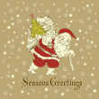 Christmas Card. Santa Claus with Bag of gifts.  — Stock Photo #7559726