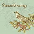 Vintage christmas card with a bird — Stock Photo